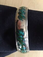 """STERLING SILVER & TURQUOISE WAVE BRACELET. 6"""" CUFF STYLE"""