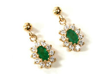 9ct Gold Emerald and Cubic Zirconia Drop dangly earrings Made in UK Gift Boxed