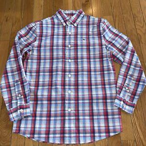 Vineyard Vines Logo Whale Button Front L/S Shirt Boys M 12-14 Red Blue & White