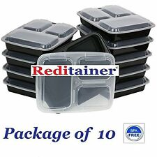 Reditainer 3 Compartment Microwave Safe Food Container Lid Divided Plate