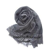 New Women Ladies Soft Pearl Beaded Large Scarf Pashmina Neckerchief  Hijab