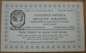 Nashville, TN 1930 Beauty Shop/Hair Perm Salon Advertising Punch Card-Tennessee
