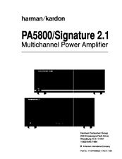 Harman Kardon Signature 2.1 Amplifier Owners Manual