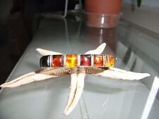 Jay King Baltic Amber and Sterling Silver 6 Stone cuff bracelet NWOT!