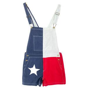 "Chubbies Men's Overall Shorts 5.5"" Texas Flag Denim Red White Blue USA New"