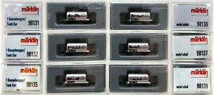 MARKLIN Z SCALE M/M 98131-32-35-36-37-39  6 COLLECTOR Freight Cars Orig Box C8