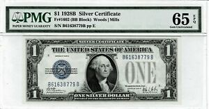 USA $1 1928B - Silver Certificate, Fr#1602 PMG 65
