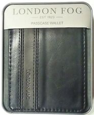 London Fog Men's Black Bifold Passcase Leather Wallet in Metal Gift Box