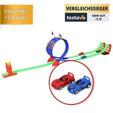 Kinderspielzeug Rennbahn mit Looping, zwei Autos, vielen Aufklebern u.v.m.