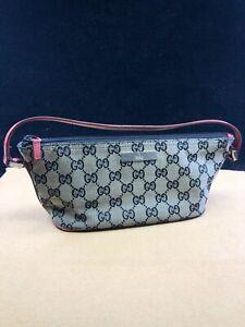 GG494 GUCCI GG Logo Canvas Top Handle Pochette Handbag   Make This beauty yours!