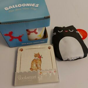 balloonies mug, cats in the kitchen coasters and feline fine foldable bag bundle