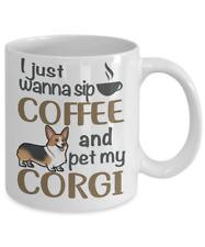 Sip Coffee With My Corgi, Welsh Corgi White Coffee Mug, Corgi Gift, Corgi Mug