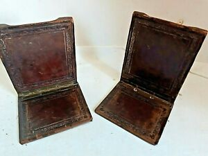 Vintage Leather Bookends Folding Design, Antique Detail Brass Hinged