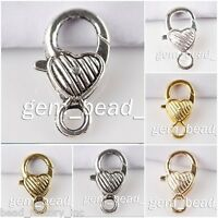 Wholesale  Heart Shape Lobster Clasp Hook End Connector Finding Charms 26mm New