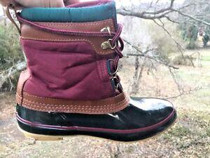 SPORTO Rain Galoshes Snow THERMOLITE Fleece Lined Steel Shank BOOTS Womens Sz 8