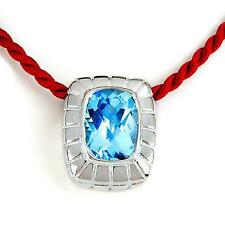 "5 CT AQUAMARINE SET IN  SILVER W/24""  SCARLET ROPE NECKLACE-COSTUME JEWELRY KING"