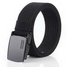 "1.5"" Black Mens Nylon Web Belt Metal Automatic Buckle Waistband Trousers Belts"