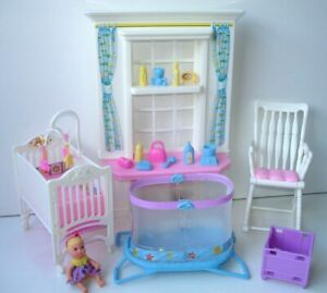 Barbie Nap N' Play Krissy Doll's Nursery Playset with Accessories + Baby Doll