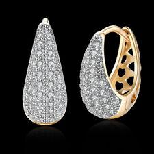 """Aaa Zirconia Leverback .12"""" L206 Gold Platinum Plated Earrings Huggie Hoop"""