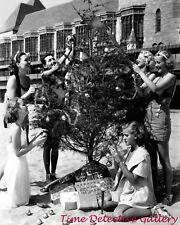 Decorating a Christmas Tree at the Beach - 1950 - Vintage Photo Print