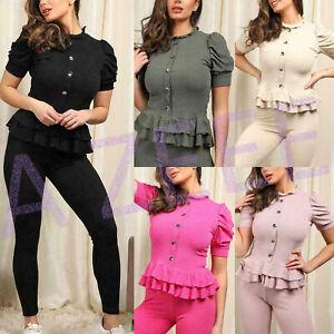 New Womens Ladies Ribbed Frill Peplum Button Loungewear Suit Tracksuit Set UK MX