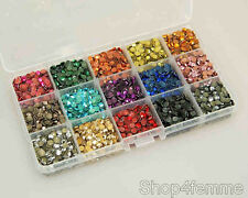 15 Colors Total 6480pcs 5mm Hot Fix Iron On Metal Studs