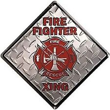 """Firefighter Firefighters Fire Rescue Crossing Xing 12"""" Metal Sign Embossed Decor"""