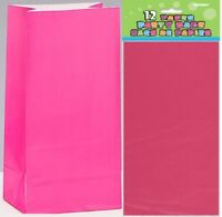 MAGENTA PAPER PARTY BAGS 26CM(H) X 14CM(W) PACK OF 12 BIRTHDAY PARTY SUPPLIES