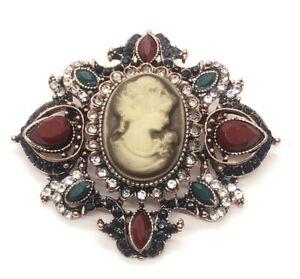 Vintage Brooch Pin Signed Visson Cameo Rose Gold Tone Rhinestone