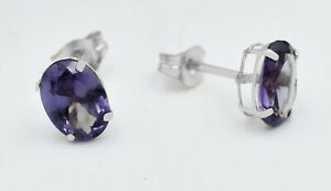 AAA 1.78 Cts ALEXANDRITE   STUD EARRINGS 14k White Gold * NEW WITH TAG