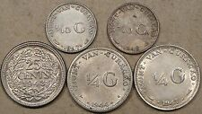 Curacao 1947+48 1/10 G.,1943 25 C.,1944-D+47 1/4 G. Better Grades as Pictured