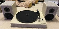 Victrola 3-Speed Turntable With Speakers - White Wood and Linen Fabric Finish