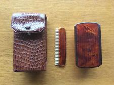 Vintage Vanity Hair Brush Comb Set 1960s 1970s, Brown Faux Snakeskin Case