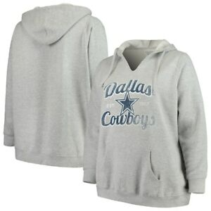 Dallas Cowboys NFL Majestic Women Gray Plus Pullover Hoodie Heather