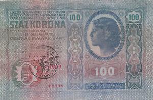 100 KORONA VF BANKNOTE WITH STAMP FROM YUGOSLAVIA 1919