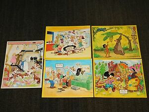 """VINTAGE 14"""" X 11"""" 5 OLD  PUZZLE GAMES JAYMAR BLONDIE JUNGLE BOOK SNUFFY SMITH +"""
