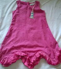 BNWT Joules size 7 years hot pink dress frills lined 100% cotton