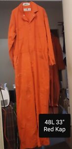 "Coverall 48L XL Red Kap Orange 33"" Inseam Snaps Front Cotton $8 Fair Condtion"