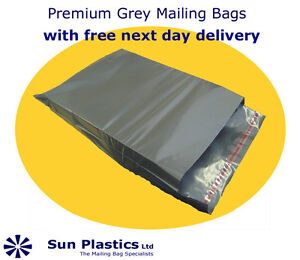"""Grey Mailing Bags 5 x 7"""" (120 x 155mm) Perm Seal Opaque (pack 1000)"""