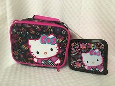 HELLO KITTY Black Pink Canvas Insulated Lunch Bag W/ Sandwich Container Sanrio