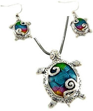 """and Earrings Set with 24"""" Chain Clolrful Large Enameled Sea Turtle Pendant"""