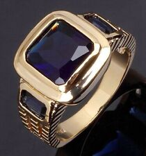 18K Gold Filled Mens Engagement Ring Fashion Size 12 Jewelry Luxury Blue Topaz