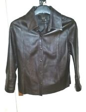 ARMA Dark BROWN Real Soft Lambskin LEATHER JACKET S uk10eu36us6 Chest c36in c91c