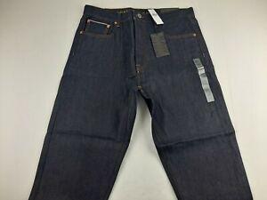 NEW American Eagle Selvedge Raw Denim Men 33 Black Jeans Button Fly Taper 34X28