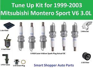 Tune Up for 1999-2003 Mitsubishi Montero Sport V6 3.0L Wire Set, Air Fuel Filter