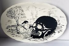 Maxcera Halloween Skull, cemetery and Raven Spooky Oval Serving Platter New