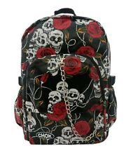 CHOK SKULL ROSE PU Waterproof LAPTOP Backpack Rucksack School Goth Rock Emo Bag