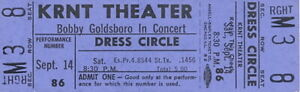BOBBY GOLDSBORO 1968 HONEY TOUR UNUSED KRNT CONCERT TICKET / NMT 2 MINT No. 3