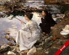 TWO YOUNG GIRLS IN DRESSES POND FISHING OIL PAINTING ART PRINT ON REAL CANVAS