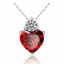"""SILVER - """"RED CRYSTAL LOVE-HEART"""" PENDANT ON A SILVER 18"""" OR 46CM """"TRACE"""" CHAIN"""